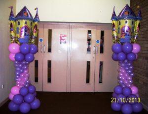 Princess castle balloon columns for entrance